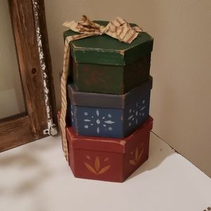 Primitive Stacking Boxes Tied With Ribbon
